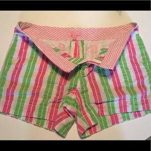 Lilly Pulitzer pink green striped shorts